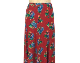 vintage 1970's BETSEY JOHNSON floral skirt / Alley Cat / rayon / bold bright print / maxi skirt / women's vintage skirt / tag size 9/10