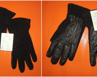 DEADSTOCK Vintage Gloves 1970s Black Leather and Wool Boucle Gloves NWT Soft Leather Curly Wool Lined Winter Gloves DDR / E Germany sz 7 ?