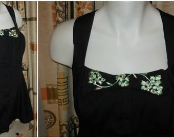 SALE Vintage Bathing Suit 1940s 1950s Black Skirt Swimsuit Green Bow Embroidery Pinup Swimsuit Open Bottom Rockabilly L XL chest to 42 in