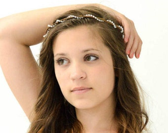 Beaded Crown Simple Woodland Bark Headband Natural Light Vintage Style Minimalist Nature Inspired