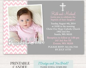 Pink and Grey Chevron Baptism Invitation - Pink Baptism Invitation - Girl Baptism Invitation - Girl Christening Invitation - Printable
