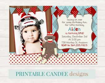 Sock Monkey Birthday Invitation, Monkey Party, Sock Monkey Invite, Argyle Print Invite, Monkey Printables, Boy 1st Birthday Invitation