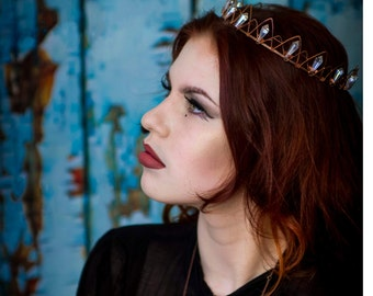 Rustic crystals crown, Bohemian crown, Wedding tiara, Bridal hairpiece, Rustic wedding accessory