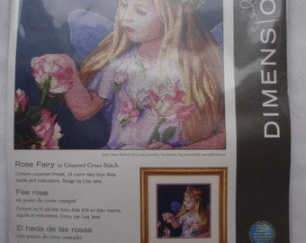 New Dimensions Rose Fairy Counted Cross Stitch Kit 14 ct