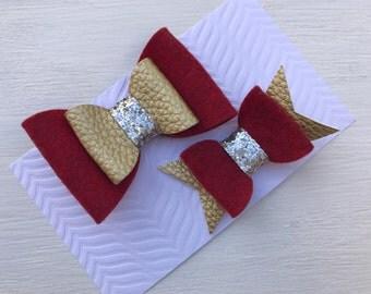 Christmas hair clip set~Girls hair clip set~Christmas gift~Girls gift set~Photo prop~Photography props~Wool felt & leather hair bows clips