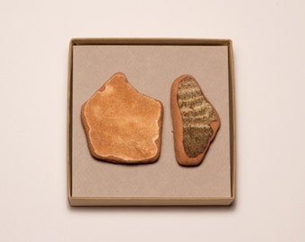 Two Large Brown Pottery Magnets   Terracotta Pottery Shards Magnet, Brown Ceramic Magnet, Unique Home Decor Gift Message Board, Refrigerator