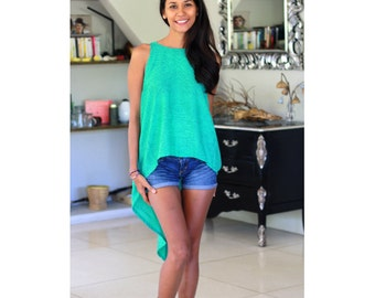 Turquoise Tops / Hi-Low Tops / Party Top / Womens Tank Top / Summer Shirt