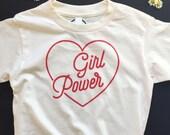 GIRL POWER - Kids and Youth Tee Shirt  - Revolution - Equality - Feminist Shirt- Natural White - Organic T-Shirt