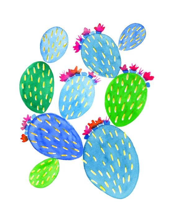 Turquoise & Green Prickly Pear Archival Print // Cactus Art // Desert Art // Cactus Painting // Botanical Art // Floral Art
