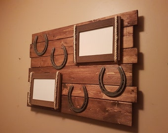 wood horseshoe picture frame sign / wooden sign horseshoes picture frames / western themed picture frame wall hanging