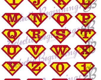 Alphabet and Numbers PNG Digital File, Diy Print Clip Art-Superman Logo Character Letters Alphabet A-Z Printables Invitations Scr
