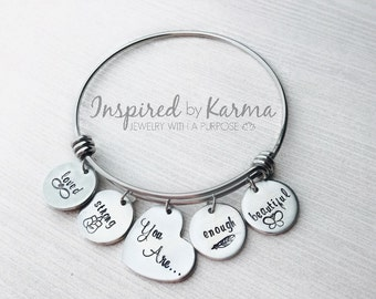 Affirmation Bracelet,Affirmation Jewelry,You are strong,You are Enough,You are Beautiful,You are Loved,Personalized bracelet,Jewelry