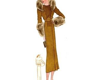 Plus Size (or any size) Vintage 1934 Dress Sewing Pattern - PDF - Pattern No 1526 Adrienne 1930s 30s Retro
