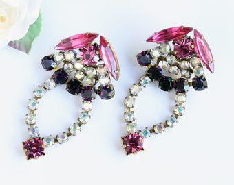 Vintage Large Czech Chandelier Earrings, Pink and Purple Rhinestones with AB Czech Glass Stones, Gorgeous Unsigned Costume Jewelry