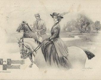 A Morning Pastime- Vintage 1920s Artist-signed Sidesaddle Equestrienne Postcard
