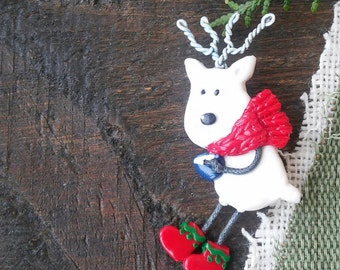 Christmas brooch Rudolph Santas Reindeer, Cute small gift, Christmas jewelry, Christmas Deer Brooch, Christmas gift