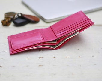 Dark Pink Wallet, Personalized Wallet, Custom Wallet, Gift For Her, Leather Pink Wallet, Bifold Wallet, Ladies Wallet, Cute Wallet