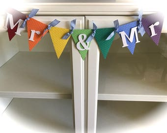 Mr and Mr Rainbow /Lesbian/Gay Wedding/Party/Shower Banner/Garland/Bunting
