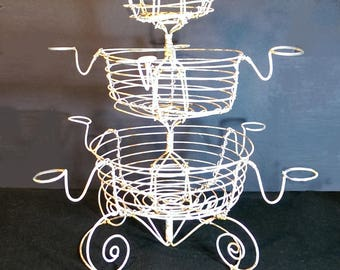 Vintage Rustic Farmhouse  Wire Ware Egg Basket Stand