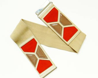 "Rad 70's Mod Vintage Belt / Vintage Geometric Shapes Elastic Cinch Belt / Retro Geo Future Belt 28"" to 34"" Waist"