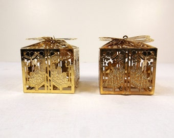 REED & BARTON Set of Two (2) Christmas Gift Boxes or Presents Ornaments