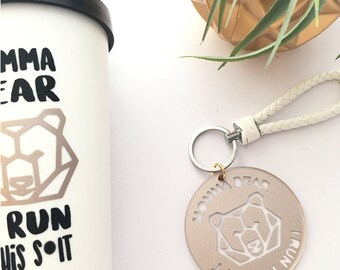 Momma bear keychain and luggage tag, I run this Sh*t & faux leather white lanyard, mom keychain and lanyard fashion accessory geometric bear