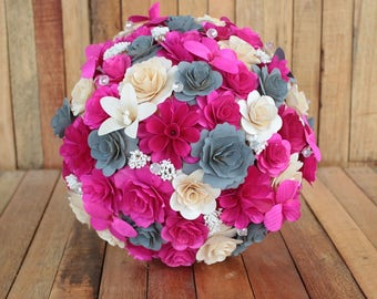 Gray Hot Pink Ivory Rustic Wooden Bouquet For Wedding And Home Decor Centerpiece