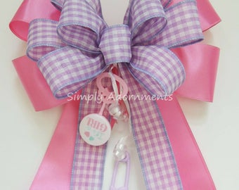 It's a Girl Shower Party decor Lavender Pink Gift Bow Baby Girl Shower Party Decor Baby Girl Gift Basket Bow Newborn Baby Girl Party Decor