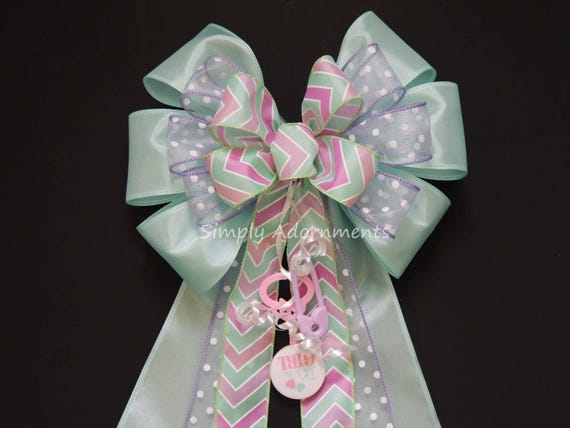 It's a Girl Bow Pink Mint Baby Girl Shower Party Decor Mint Purple 1st Birthday Party decor Newborn Baby Girl Party Decor Mint Gift Bow