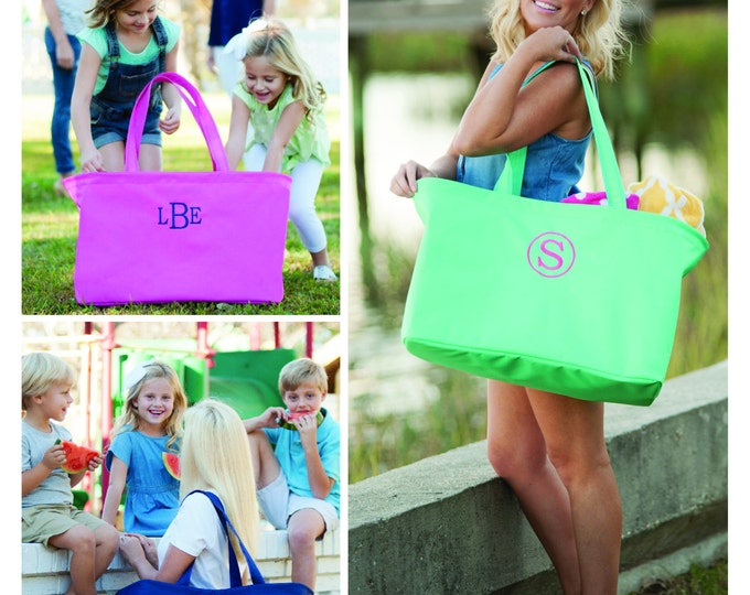 Monogrammed Ultimate Tote, Monogram Jumbo Tote Bag, Navy, Hot Pink, Mint, Ultimate Tote, Picnic Basket, Vacation, Multipurpose Tote Bag