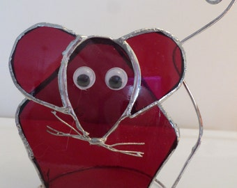 Stained glass mouse, home decor, gift idea