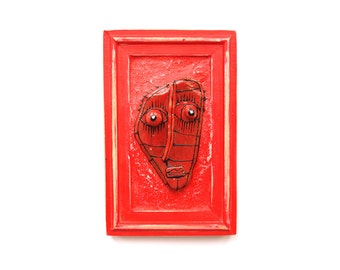 Red ceramic face, Red sculpture, Wall ceramic art, Red glazed ceramics, Modern ceramics, 3D face art, Unique ceramics,  by 99heads