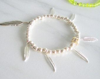 Sterling Silver Boho Bracelet, layered bracelets, sterling silver bracelet, feather bracelet, bead bracelet, gift for her, gift for mom