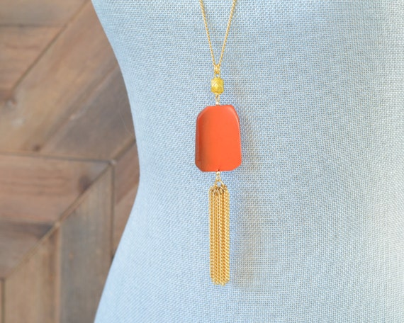 Long Tassel Necklace - Chain Tassel Necklace - Long Fringe Necklace - Stone Tassel Necklace - Burnt Orange Necklace - Long Statement