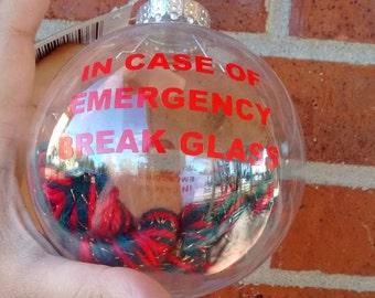 In Case of Emergency Yarn Ornament
