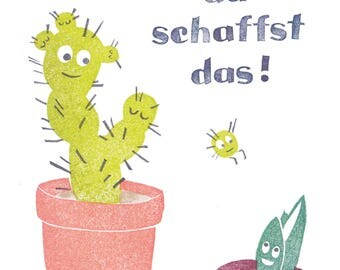 """card """"you can do it"""" cactus"""