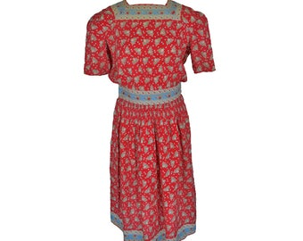 Vintage 30s 40s Printed Dress // Muslin // Feedsack -esque // Day
