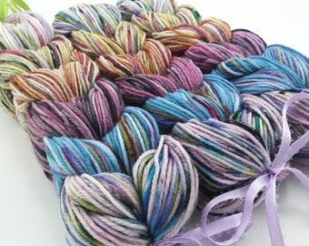 Big Sky - Hand Dyed Speckled Sock Yarn Mini Skein Set - SW 75/25 - Superwash Merino Nylon - 252 yards - Infanta