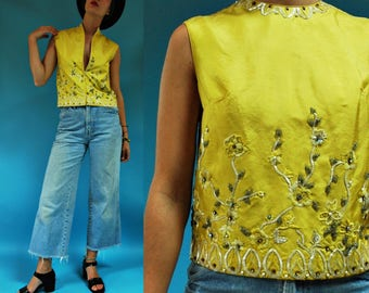 1960s Yellow Silk Floral Beaded Sleeveless Zip Down Top