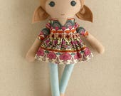 Fabric Doll Rag Doll Light Brown Haired Girl in Jewel Tone Floral Dress with Fuchsia Shoes
