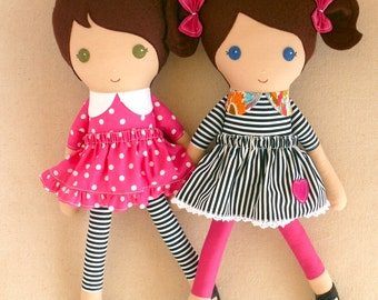 Reserved for Kasey - Fabric Dolls Rag Dolls Brown Haired Girls in Pink Polka Dotted Dress and Striped Dress with Mermaid Tail