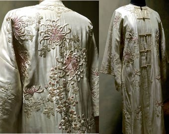 1910's Chinese Opera or Wedding Coat, Ivory Silk with Pink, Ivory and Ecru Embroidered Floral Wreaths, Chrysanthemums, Hearts