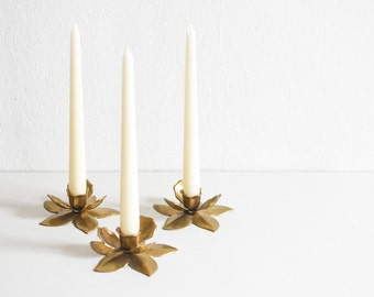 Vintage brass candle holder flower blossom candle stick set MId-Century 60s dinner table