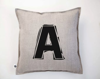 Custom monogram for pillow - letter or number monogram on any linen pillow cover