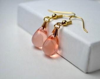Peach Drop Earrings, Peach & Gold Earrings, Glass Teardrop Earrings, Bridesmaid Earrings Peach Jewelry, Wife Girlfriend Gift under 15 dollar