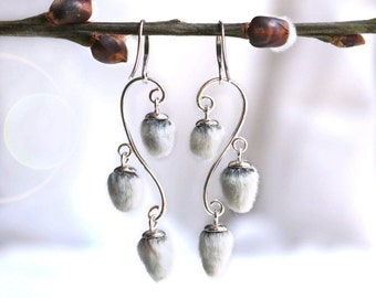 Pussy willow chandelier earrings, sterling silver earrings, real plant botanical nature jewelry, easter gift for her elegant fantasy jewelry