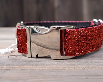 July 4th Dog Collar - Sparkly Red Holiday Dog Collar, Ruby Red, Independence Day Dog Collar, with Metal Hardware