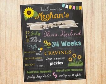 Sunflower Baby Shower Welcome Sign Chalkboard. Sunflower baby shower decoration game. chalk board digital custom. PRINTABLE poster.