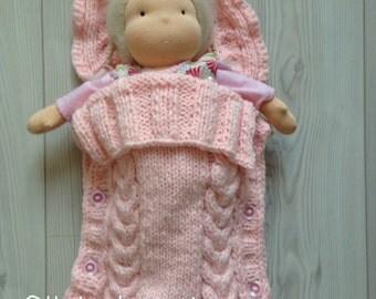 Handknitted sleeping bag, sleeping bag, doll sleeping bag, Waldorf doll, gift,