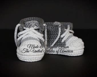 Crochet Baby Shoes, Baby Sneakers, Baby Chuck Taylors, Gray Baby Shoes, Baby Boy Shoes, Baby Converse, Baby Tennis Shoes, 0-3 Months